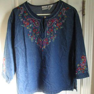 Two Twenty Denim Embroidered Pasley Blouse